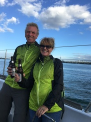 John & Nancy enjoying a New Year's Eve Cruise in Auckland Harbour