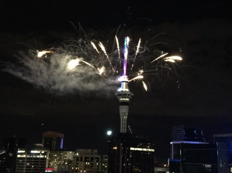 Sky tower fireworks Midnight New Years Eve