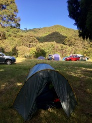 Our tent at Lower Mangatawhiri. Next day's tramp is in the background