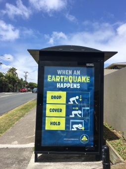 We were unable to walk all the bays. A sign of the times. Earthquake drills advertised on the side of this bus shelter
