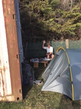 Campsite behind Pokono Motel. No room at the Inn!