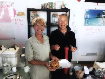 Buying another of Kathy's pies to eat for lunch. Rangiriri
