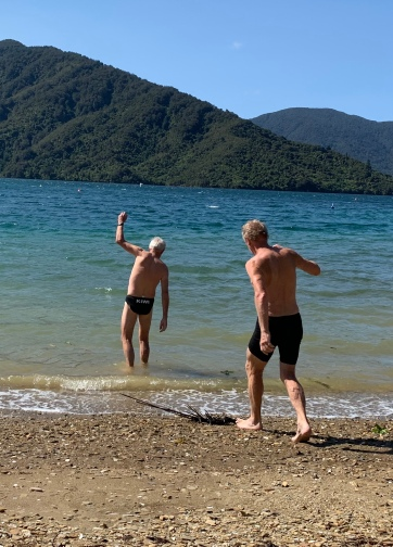 John and Dave off for a swim to a buoy. Love this image