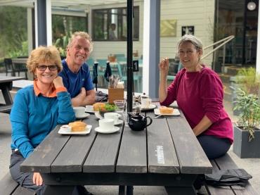 Enjoying delicious home made pies st Pelorus Bridge Cafe