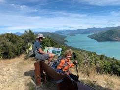 Dave & Nancy overlooking Kenepuru Sounds. Look at the color of the water!